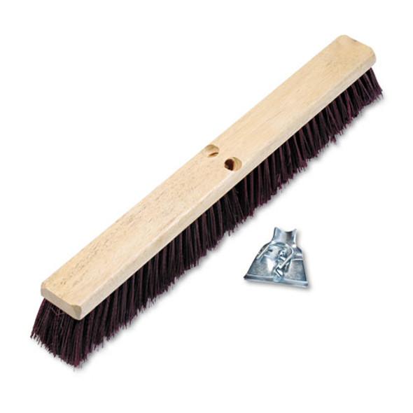 "Floor Brush Head, 3 1/4"" Maroon Stiff Polypropylene, 24"""