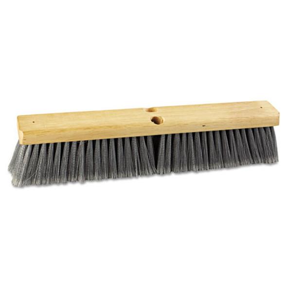 "Floor Brush Head, 18"" Wide, Flagged Polypropylene Bristles"