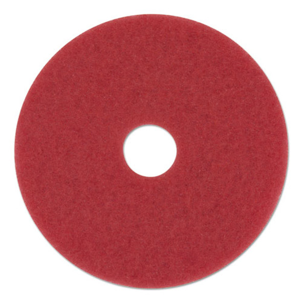 "Buffing Floor Pads, 12"" Diameter, Red, 5/carton"