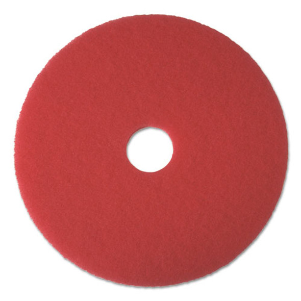 "Buffing Floor Pads, 14"" Diameter, Red, 5/carton"