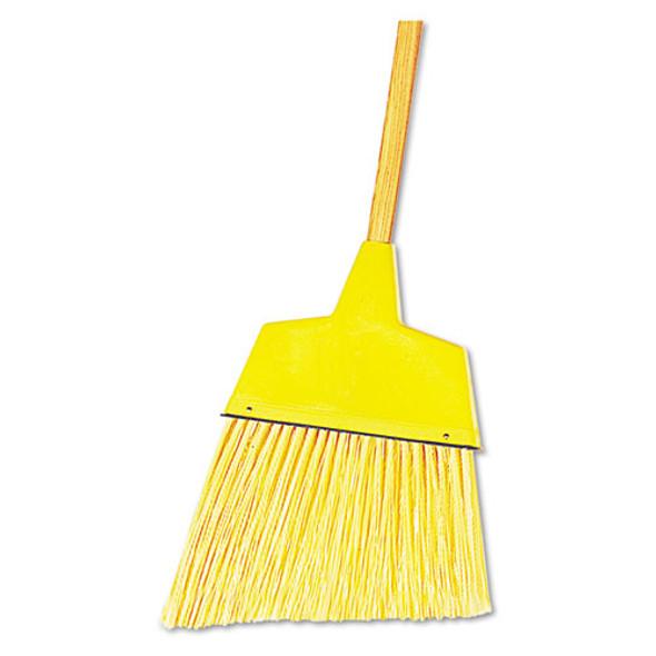 "Angler Broom, Plastic Bristles, 53"" Wood Handle, Yellow"
