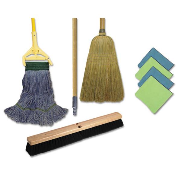 Cleaning Kit, 1 Mop, 2 Handles,  1 Push Broom, 1 Maids Broom, 4 Microfiber Wipes