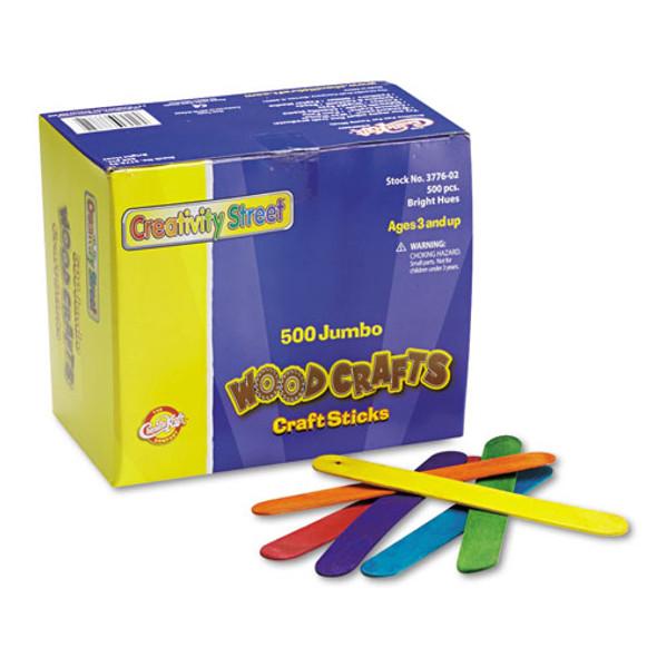 "Colored Wood Craft Sticks, Jumbo, 6"" X 0.75"", Wood, Assorted, 500/box"