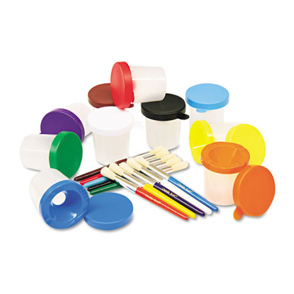 No-spill Cups & Coordinating Brushes, Assorted Colors, 10/set