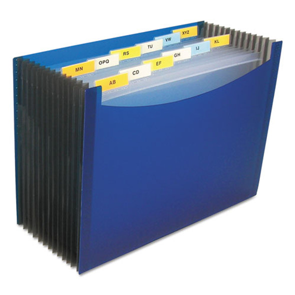 """13-pocket Expanding File, 9.25"""" Expansion, 13 Sections, 1/13-cut Tab, Letter Size, Blue"""