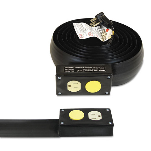 Lay-flat Power Extension And Cord Cover, 13 Amps, 125 V, 10ft, Black