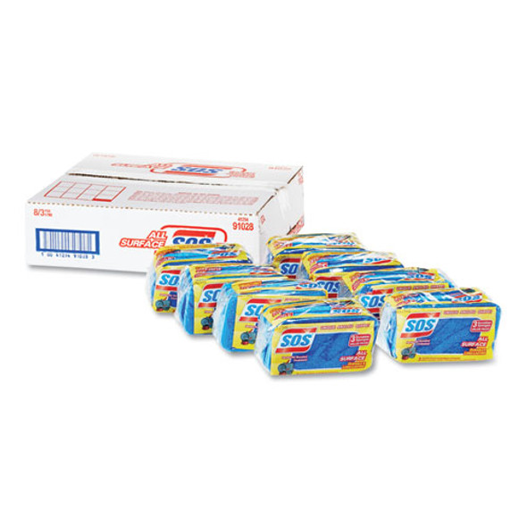 """All Surface Scrubber Sponge, 2 1/2 X 4 1/2, 0.9"""" Thick, Blue, 3/pack, 8 Packs/ct"""