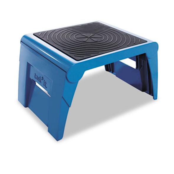 Folding Step Stool, 1-step, 300 Lb Capacity, 14w X 11.25d X 9.75h, Blue