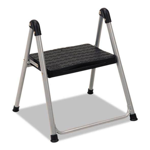 "Folding Step Stool, 1-step, 200 Lb Capacity, 9.9"" Working Height, Platinum/black"