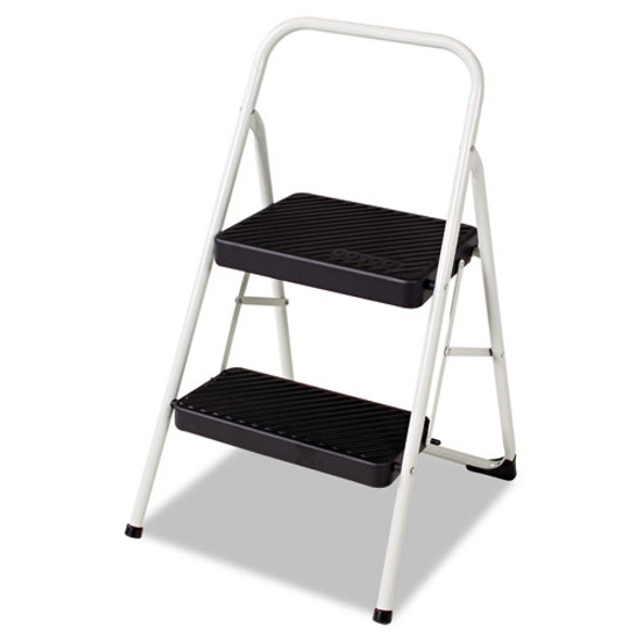 2-step Folding Steel Step Stool, 200 Lb Capacity, 17.38w X 18d X 28.13h, Cool Gray