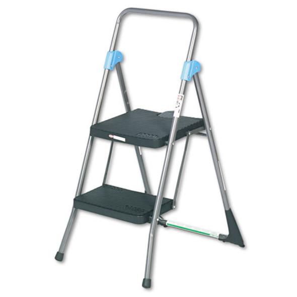 Commercial 2-step Folding Stool, 300 Lb Capacity, 20.5w X 24.75d X 39.5h, Gray