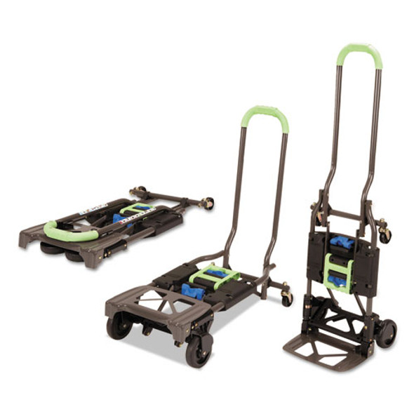 2-in-1 Multi-position Hand Truck And Cart, 16.63 X 12.75 X 49.25, Blue/green