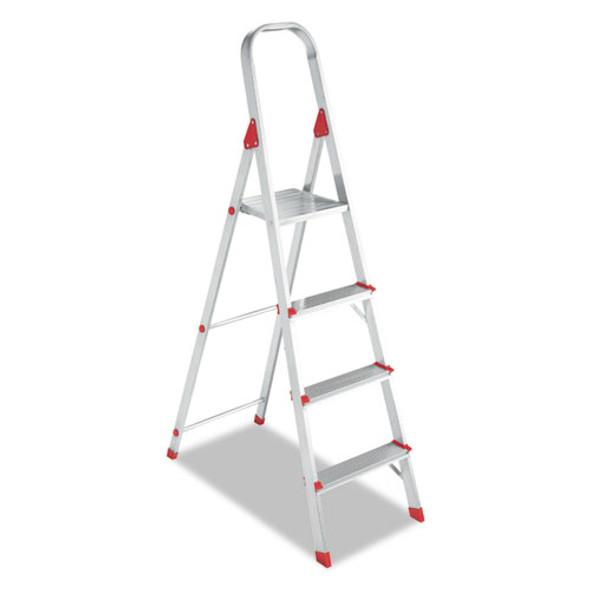 Aluminum Euro Platform Ladder, 8 Ft Working Height, 200 Lbs Capacity, 4 Step, Aluminum/red