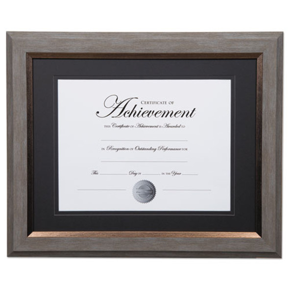 2-tone 11 X 14 Document Frame, 8 1/2 X 11 Insert, Gray/gold Frame, Black Mat