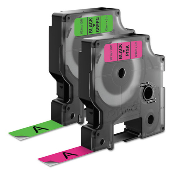 """D1 High-performance Polyester Perm Label Tape, 0.5"""" X 10 Ft, Black On Neon, 2/pack"""