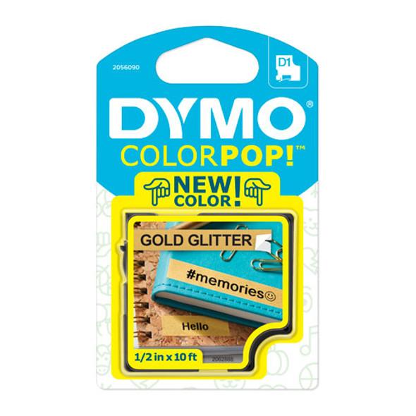 """Colorpop! Label Maker Tape, 0.5"""" X 10 Ft, Black On Gold"""