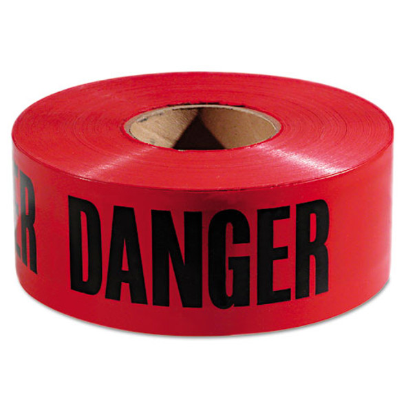 """Danger Barricade Tape, """"danger"""" Text, 3"""" X 1000ft, Red/black"""