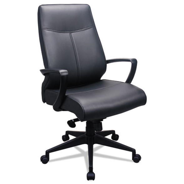 300 Leather High-back Chair, Supports Up To 250 Lbs., Black Seat/black Back, Black Base
