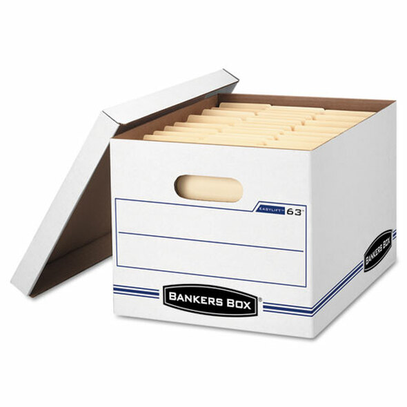 "Easylift Basic-duty Strength Storage Boxes, Letter Files, 12.75"" X 13.25"" X 10.5"", White/blue, 12/carton"