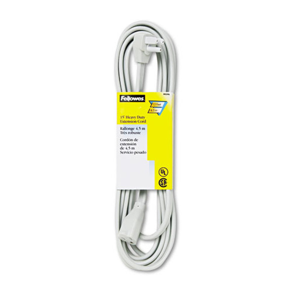 Indoor Heavy-duty Extension Cord, 3-prong Plug, 1-outlet, 15ft Length, Gray