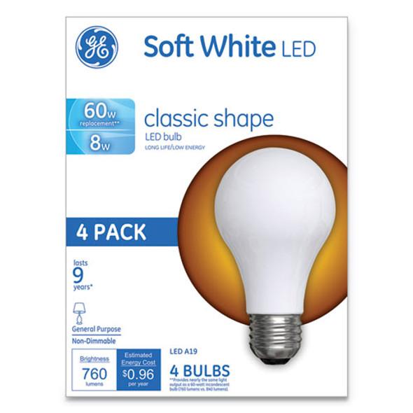 Classic Led Soft White Non-dim A19 Light Bulb, 8 W, 4/pack