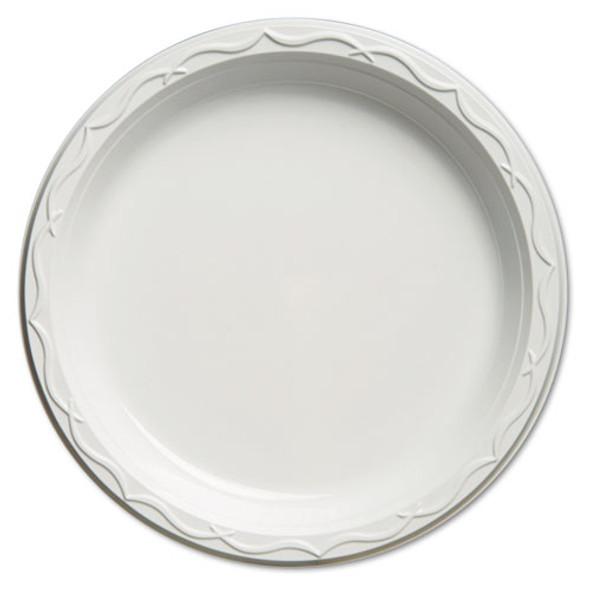 Aristocrat Plastic Plates, 10 1/4 Inches, White, Round, 125/pack