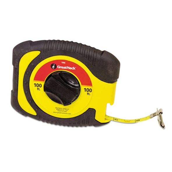 "English Rule Measuring Tape, 3/8"" X 100ft, Steel, Yellow"