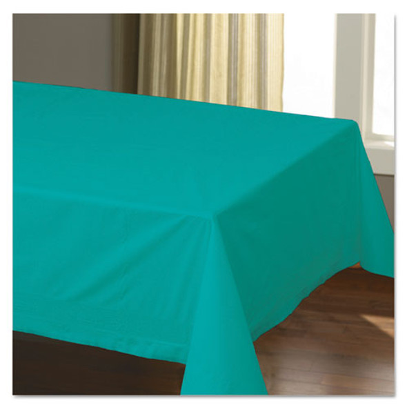 """Cellutex Table Covers, Tissue/polylined, 54"""" X 108"""", Teal, 25/carton"""