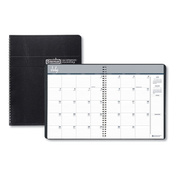 Academic Ruled Monthly Planner, 14-month July-august, 11 X 8.5, Black, 2020-2021