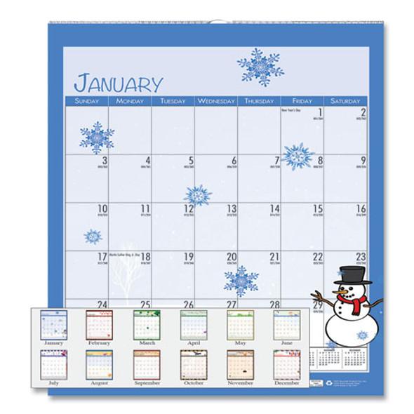 100% Recycled Seasonal Wall Calendar, 12 X 12, 2021