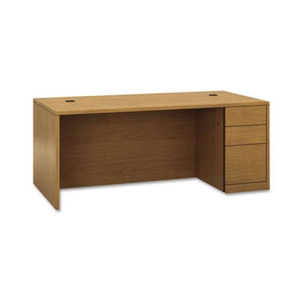 "10500 Series ""l"" Single Pedestal Desk, Right Full-height Ped, 72w X 36d X 29.5h, Harvest"
