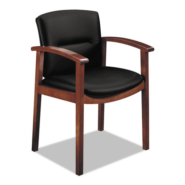 """5000 Series Park Avenue Collection Guest Chair, 23.5"""" X 22"""" X 34"""", Black Seat/black Back, Mahogany Base"""