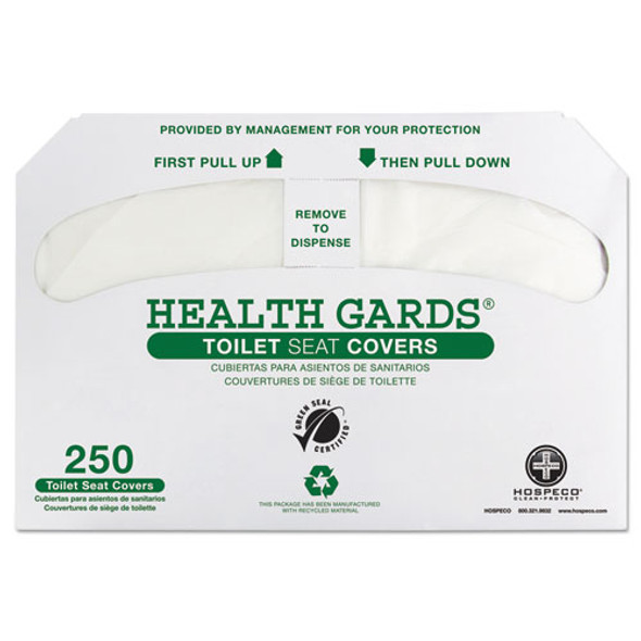 Health Gards Green Seal Recycled Toilet Seat Covers, White, 250/pk, 4 Pk/ct