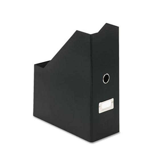 Heavy-duty Fiberboard Magazine File With Pvc Laminate, 4 1/2 X 11 X 13, Black