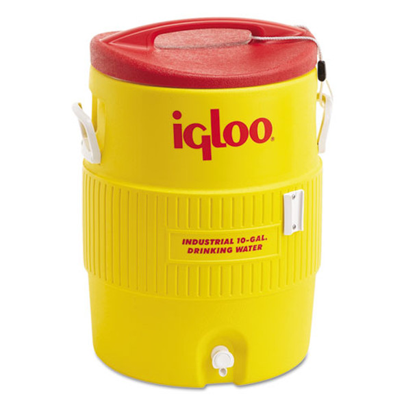 Industrial Water Cooler, 10 Gal, Yellow/red