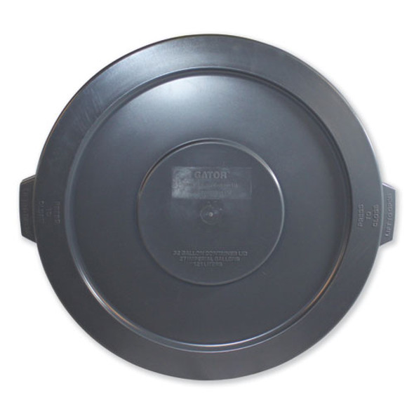 """Advanced Gator Lids, For 32 Gal Gator Containers, Flat-top, 22"""" Diameter, Gray"""