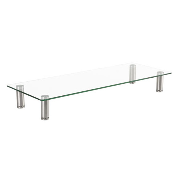 Adjustable Tempered Glass Monitor Riser, 22 3/4 X 8 1/4 X 3 1/2, Clear/silver