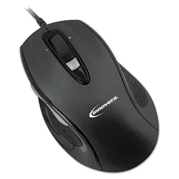 Full-size Wired Optical Mouse, Usb 2.0, Right Hand Use, Black