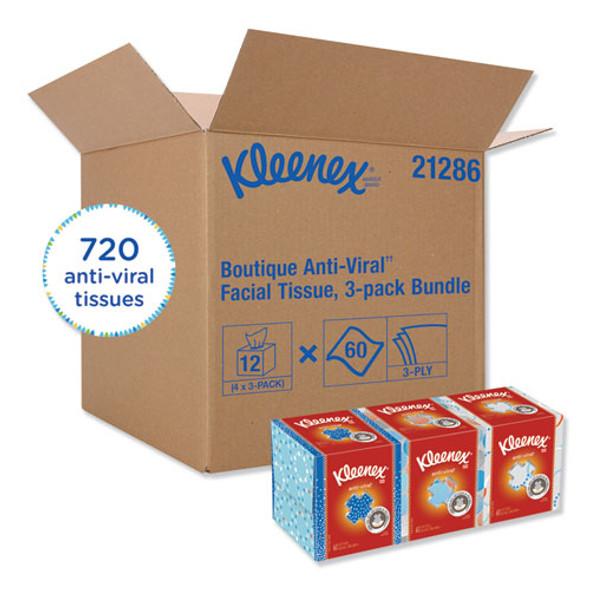 Boutique Anti-viral Facial Tissue, 3-ply, White, Pop-up Box, 60 Sheets/box, 3 Boxes/pack, 4 Packs/carton