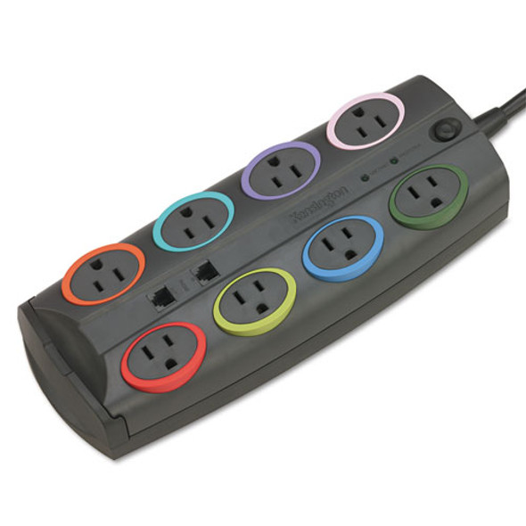 8-outlet Adapter Model Surge Protector, Black, 8ft Cord, 3090 Joules