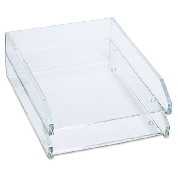 "Clear Acrylic Letter Tray, 2 Sections, Letter Size Files, 10.5"" X 13.75"" X 2.5"", Clear, 2/pack"