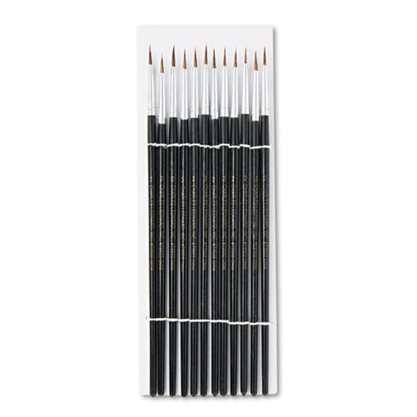 Artist Brush, Size 2, Camel Hair, Round, 12/pack