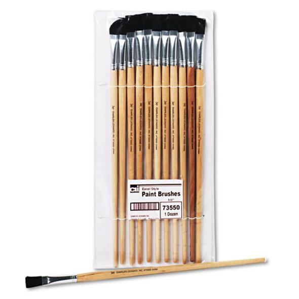 Long Handle Easel Brush, Size 12, Natural Bristle, Flat, 12/pack