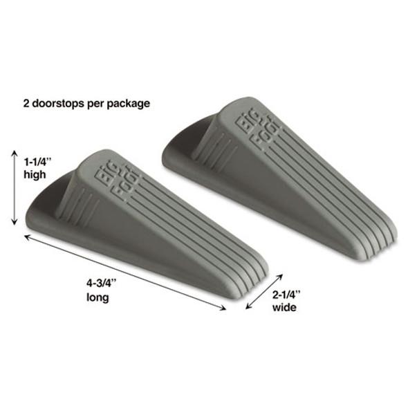 Big Foot Doorstop, No Slip Rubber Wedge, 2.25w X 4.75d X 1.25h, Gray, 2/pack