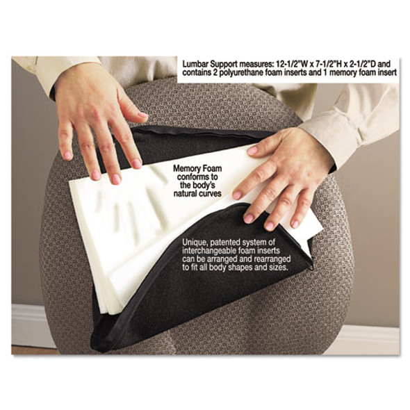 Deluxe Lumbar Support Cushion With Memory Foam, 12.5w X 2.5d X 7.5h, Black