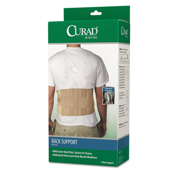 """Back Support, Elastic, 33"""" To 48"""" Waist Size, 33w X 48d X 10h, 6 Stays, Beige"""