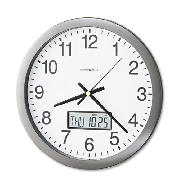 """Chronicle Wall Clock With Lcd Inset, 14"""" Overall Diameter, Gray Case, 1 Aa (sold Separately)"""