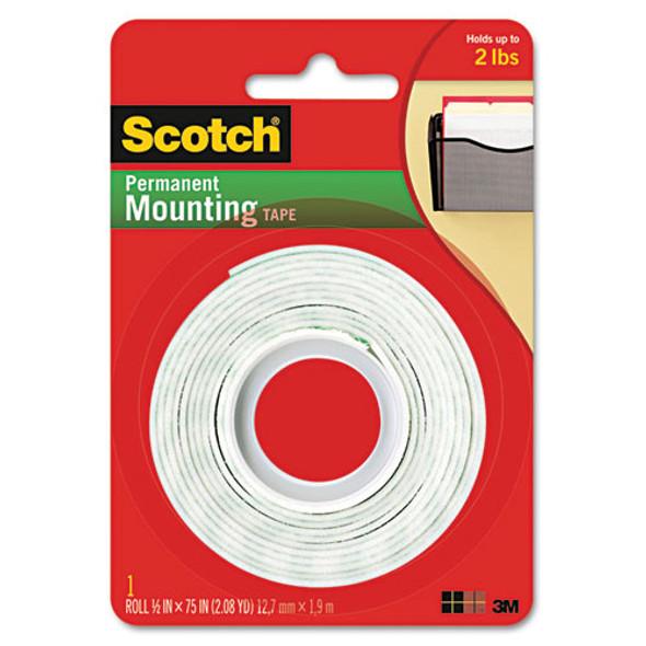 """Foam Mounting Double-sided Tape, 1/2"""" Wide X 75"""" Long"""