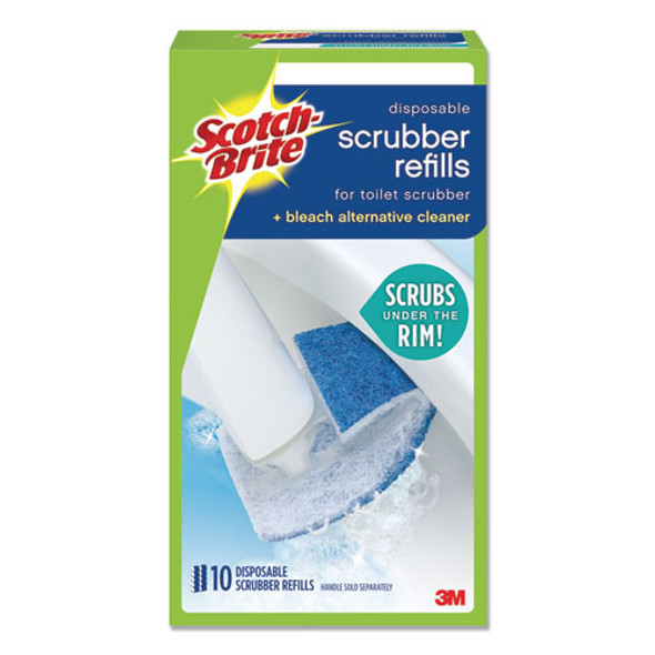 Disposable Toilet Scrubber Refill, Blue/white, 10/pack