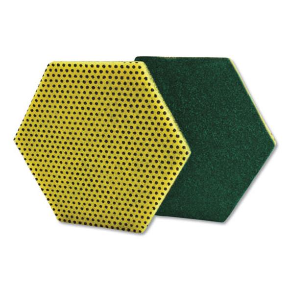 "Dual Purpose Scour Pad, 5"" X 5"", Green/yellow, 15/carton"